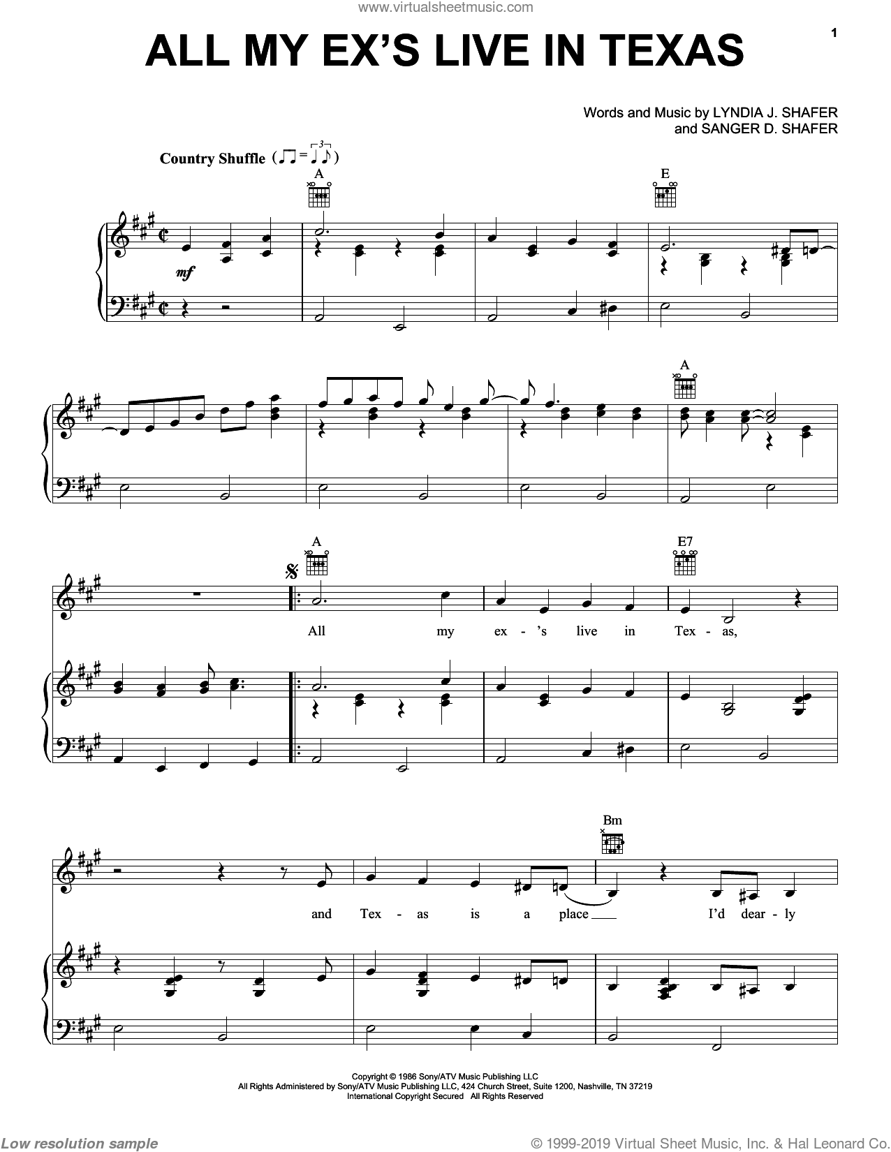 All My Ex's Live In Texas sheet music for voice, piano or guitar by Sanger D. Shafer and George Strait. Score Image Preview.
