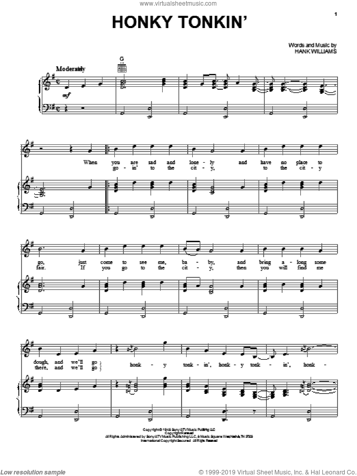 Honky Tonkin' sheet music for voice, piano or guitar by Hank Williams, intermediate voice, piano or guitar. Score Image Preview.
