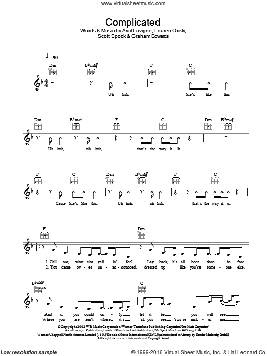 Complicated sheet music for voice and other instruments (fake book) by Scott Spock, Avril Lavigne, Graham Edwards and Lauren Christy. Score Image Preview.