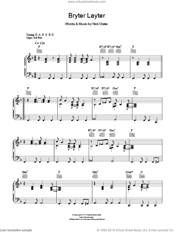 Bryter Layter sheet music for voice, piano or guitar by Nick Drake, intermediate skill level