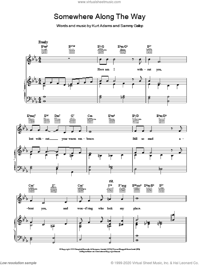 Somewhere Along The Way sheet music for voice, piano or guitar by Kurt Adams and Sammy Gallop, intermediate skill level