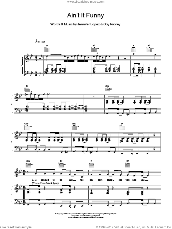 Ain't It Funny sheet music for voice and piano by Cory Rooney
