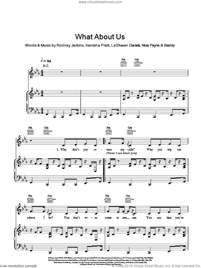 What About Us? sheet music for voice and piano by Brandy, LaShawn Daniels and Rodney Jerkins. Score Image Preview.