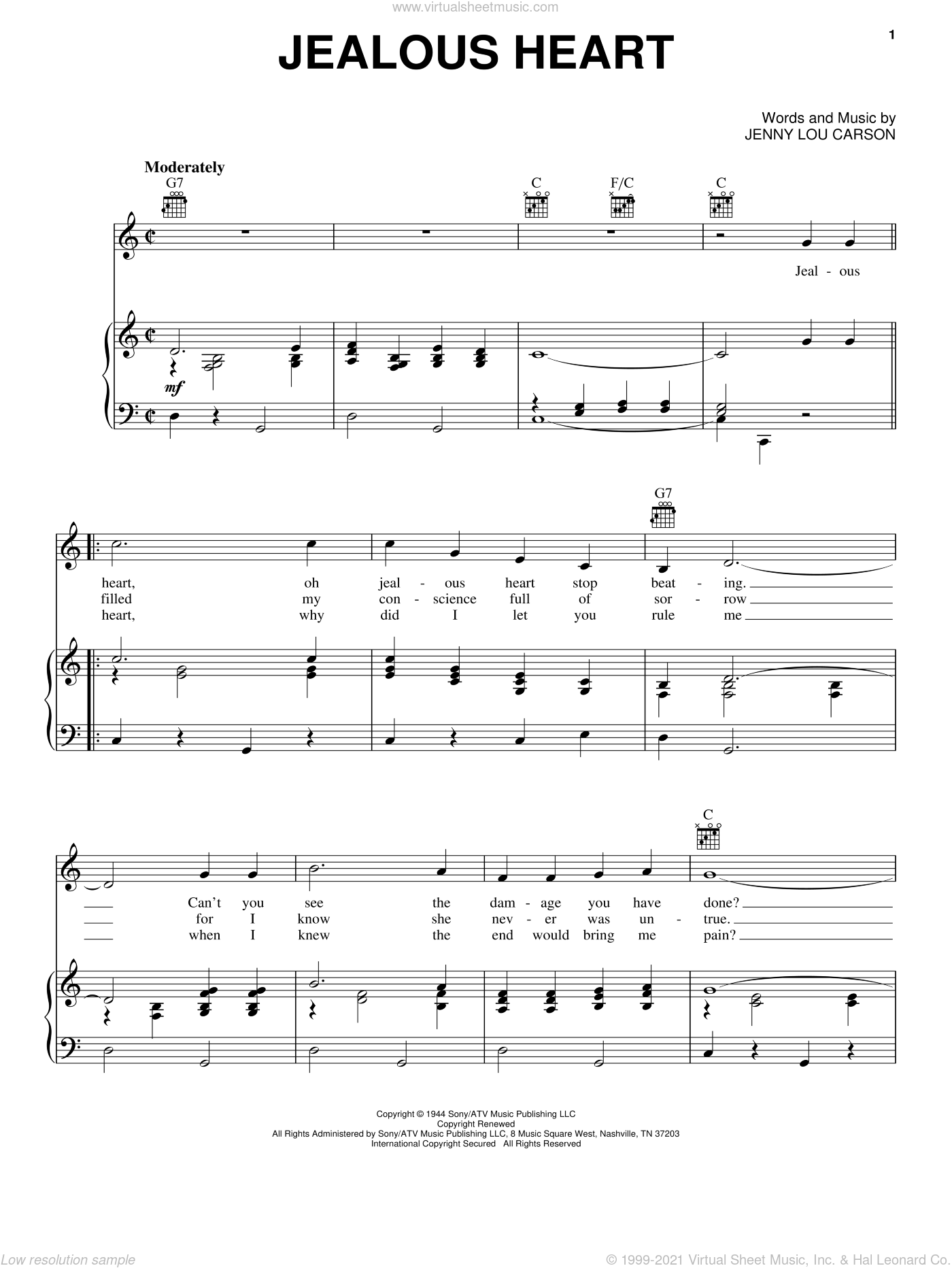 Jealous Heart sheet music for voice, piano or guitar by Jenny Lou Carson and Tex Ritter. Score Image Preview.