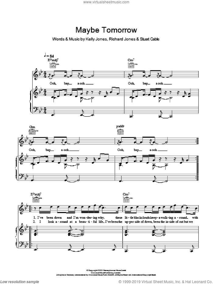 Maybe Tomorrow sheet music for voice, piano or guitar by Stereophonics, Kelly Jones, Richard Jones and Stuart Cable, intermediate skill level