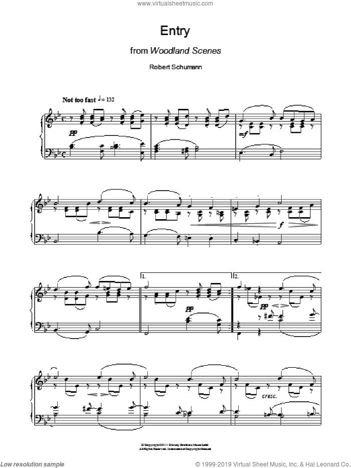Entry From Woodland Scenes sheet music for piano solo by Robert Schumann. Score Image Preview.