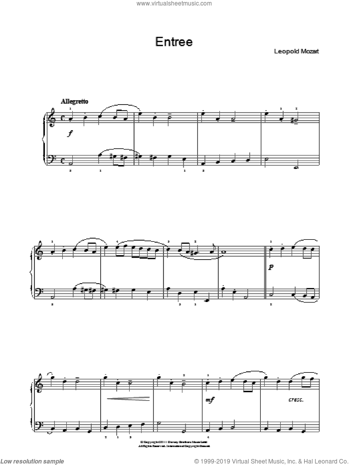 Entree sheet music for piano solo by Leopold Mozart