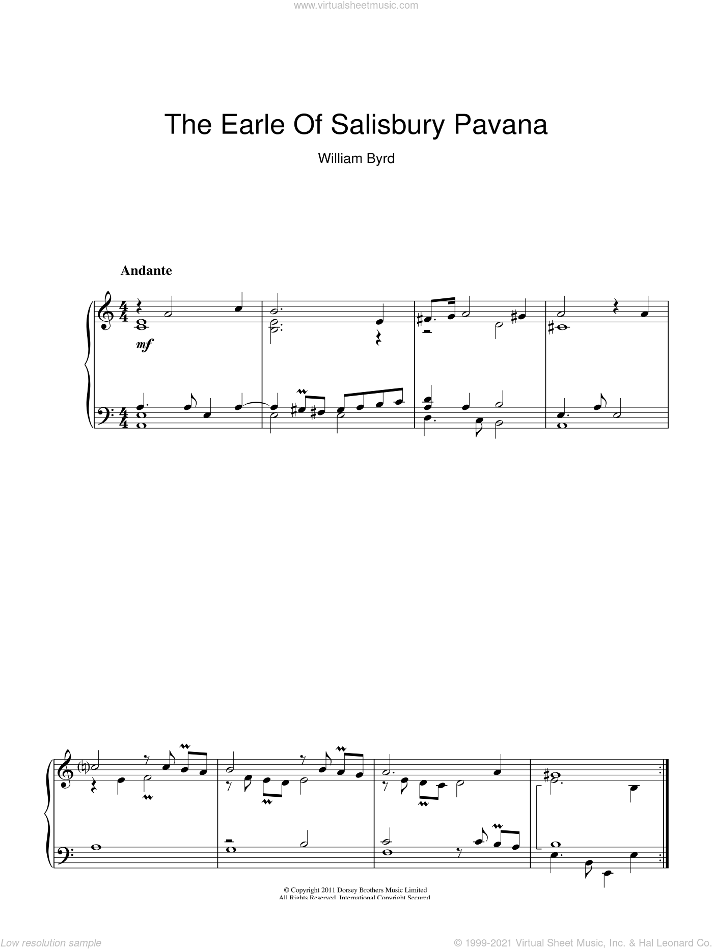 The Earle Of Salisbury Pavana sheet music for piano solo by William Byrd
