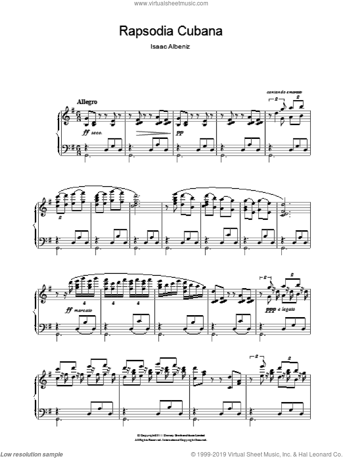 Rapsodia Cubana sheet music for piano solo by Isaac Albeniz, classical score, intermediate. Score Image Preview.
