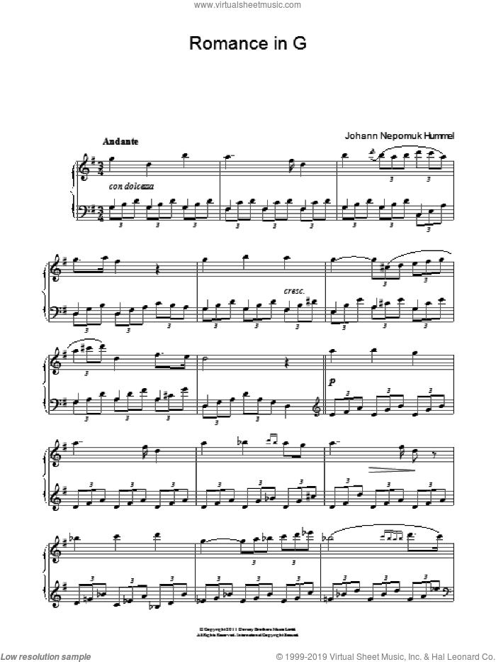 Romance In G Op.52 No.4 sheet music for piano solo by Johann Nepomuk Hummel. Score Image Preview.