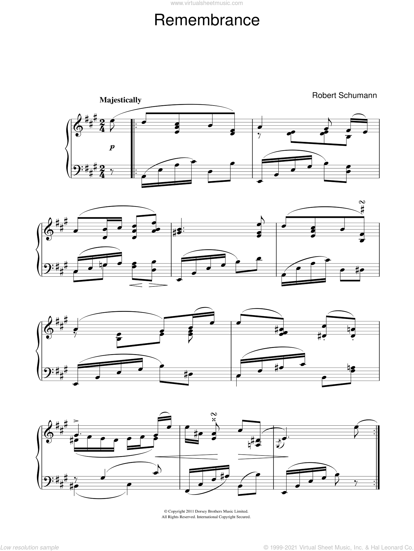 Remembrance sheet music for piano solo by Robert Schumann, classical score, intermediate piano. Score Image Preview.