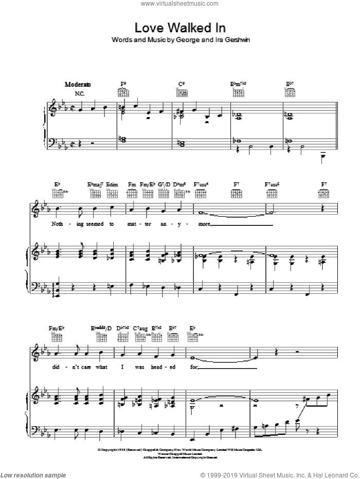 Love Walked In sheet music for voice, piano or guitar by Frank Sinatra, George Gershwin and Ira Gershwin, intermediate. Score Image Preview.
