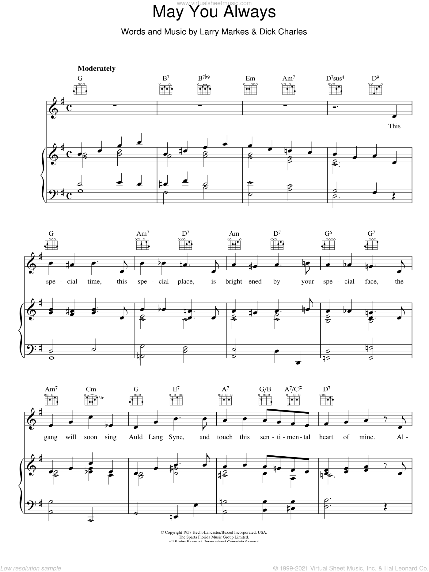 May You Always sheet music for voice, piano or guitar by Larry Markes, McGuire Sisters and Dick Charles. Score Image Preview.
