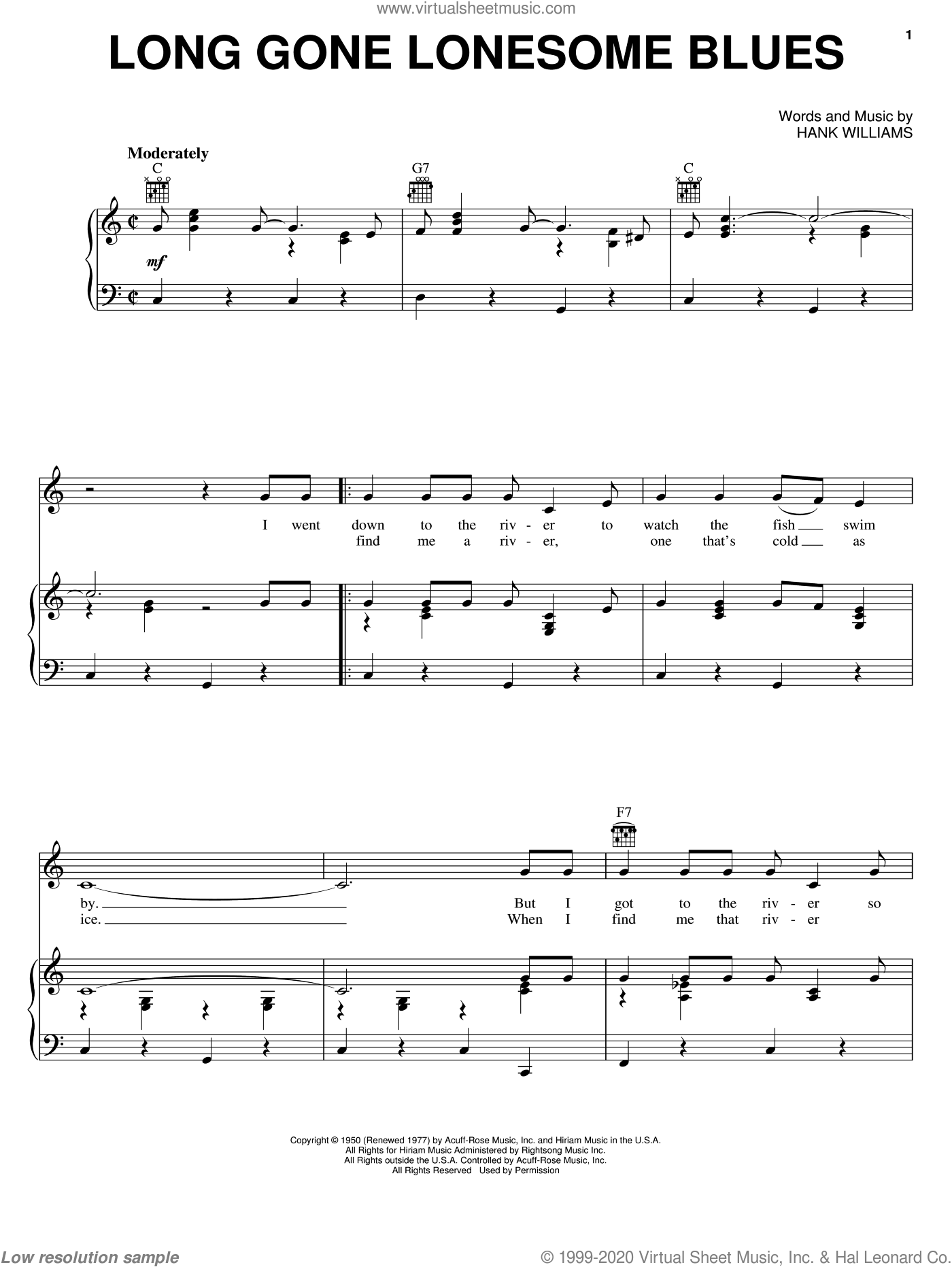 Long Gone Lonesome Blues sheet music for voice, piano or guitar by Hank Williams, intermediate. Score Image Preview.