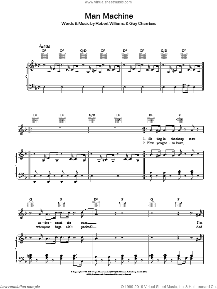 Man Machine sheet music for voice, piano or guitar by Robbie Williams. Score Image Preview.