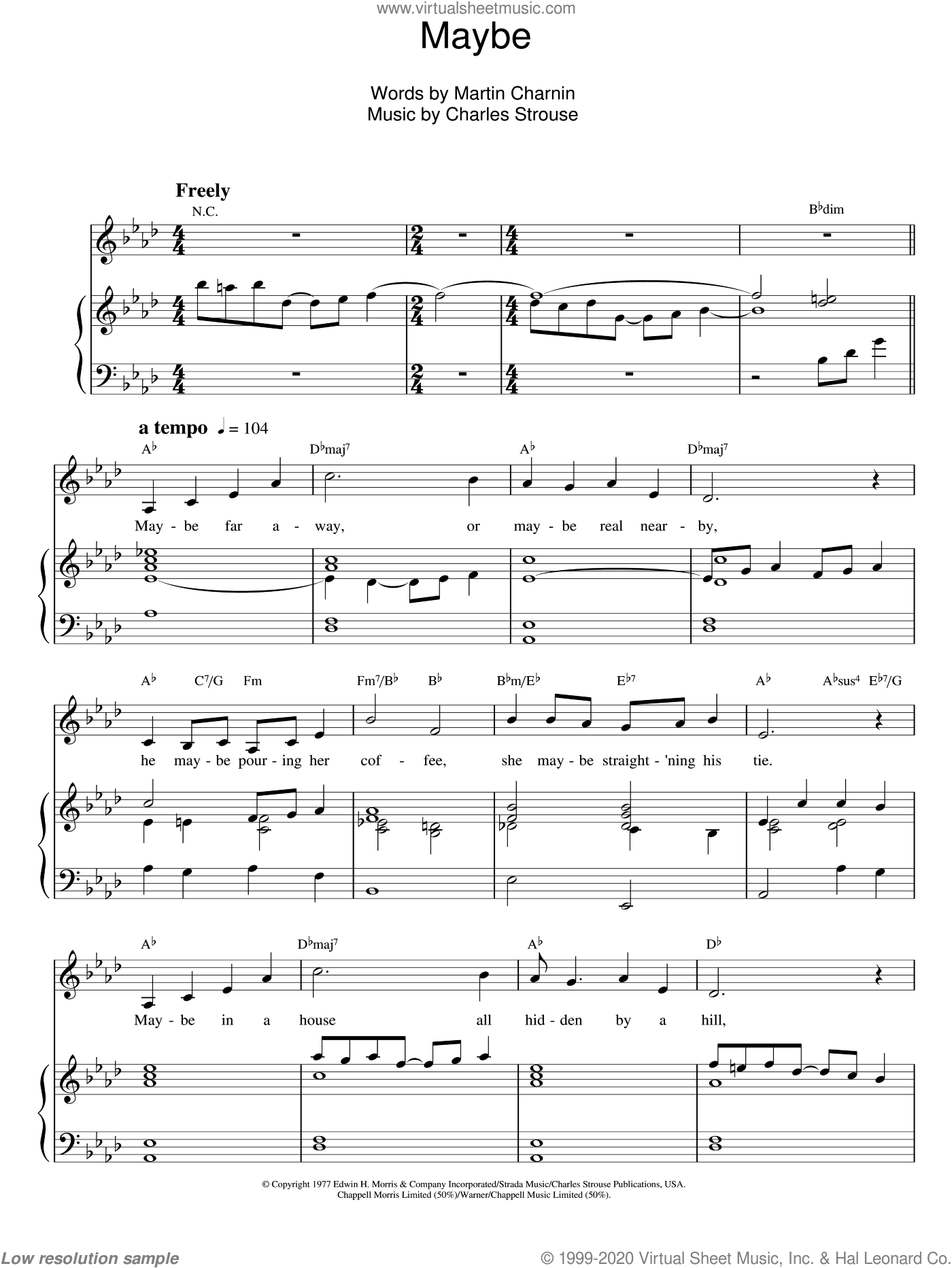 Maybe sheet music for voice and piano by Martin Charnin