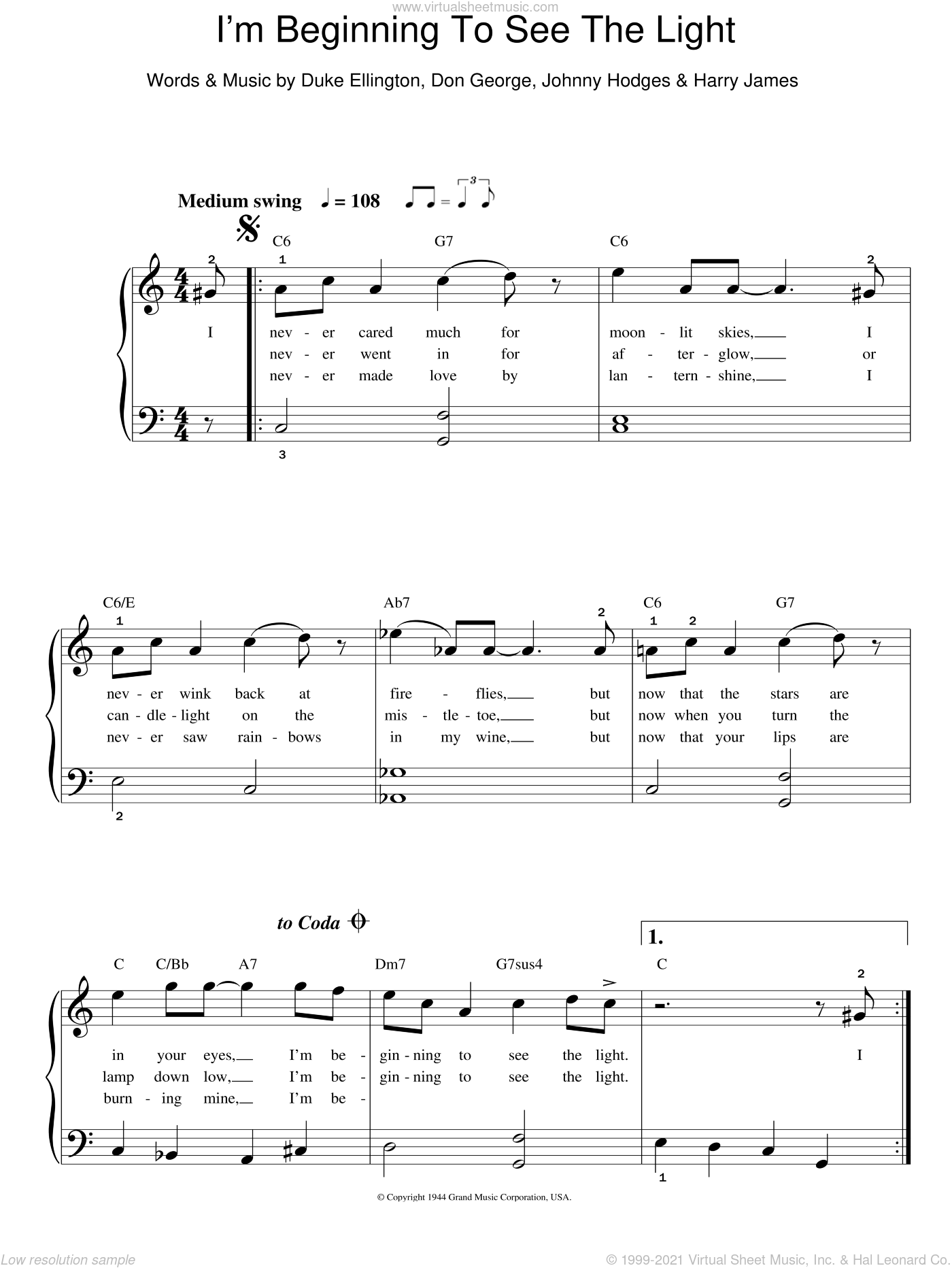 I'm Beginning To See The Light sheet music for piano solo by Frank Sinatra, Clare Teal, Don George, Duke Ellington, Harry James and Johnny Hodges, easy skill level
