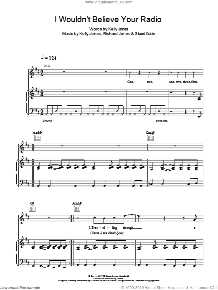 I Wouldn't Believe Your Radio sheet music for voice, piano or guitar by Stuart Cable, Stereophonics, Kelly Jones and Richard Jones. Score Image Preview.