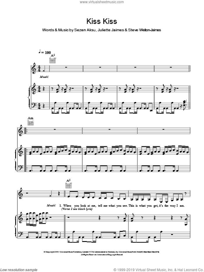 Kiss Kiss sheet music for voice and piano by Steve Welton-Jaimes. Score Image Preview.
