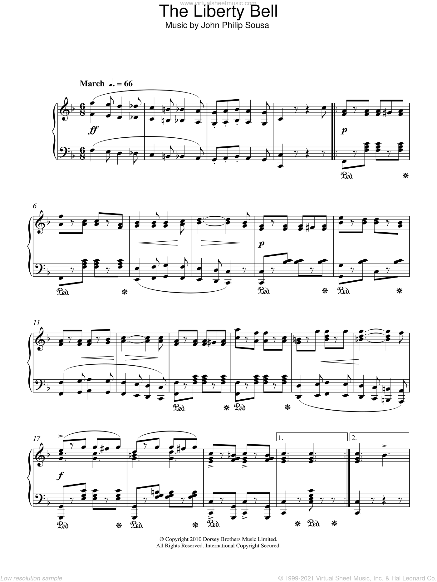 The Liberty Bell sheet music for piano solo by John Philip Sousa, intermediate piano. Score Image Preview.