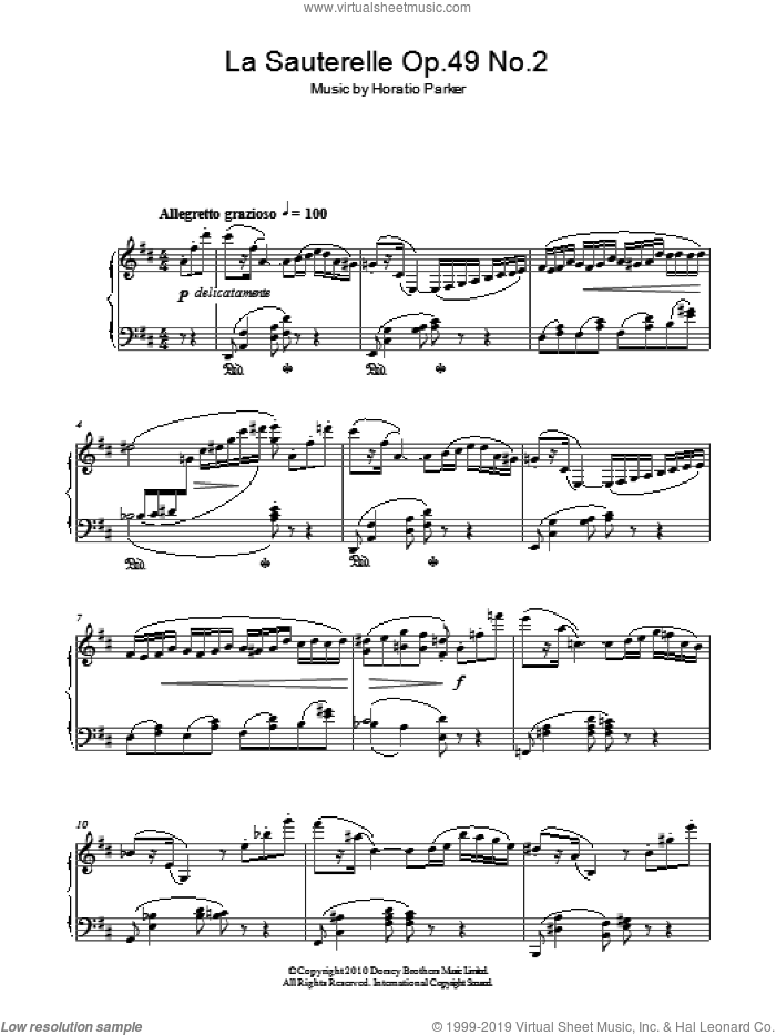 La Sauterelle Op. 49 No. 2 sheet music for piano solo by Horatio Parker