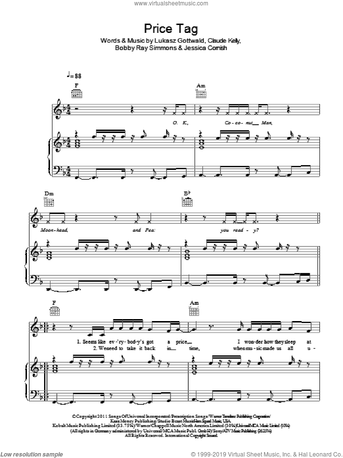 Price Tag sheet music for voice, piano or guitar by Jessie J, Bobby Ray Simmons, Claude Kelly, Jessica Cornish and Lukasz Gottwald. Score Image Preview.