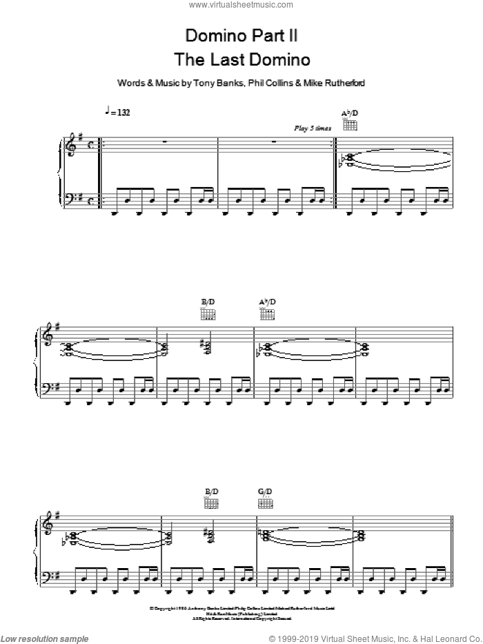 Domino Part 2: The Last Domino sheet music for voice, piano or guitar by Tony Banks, Genesis, Mike Rutherford and Phil Collins. Score Image Preview.