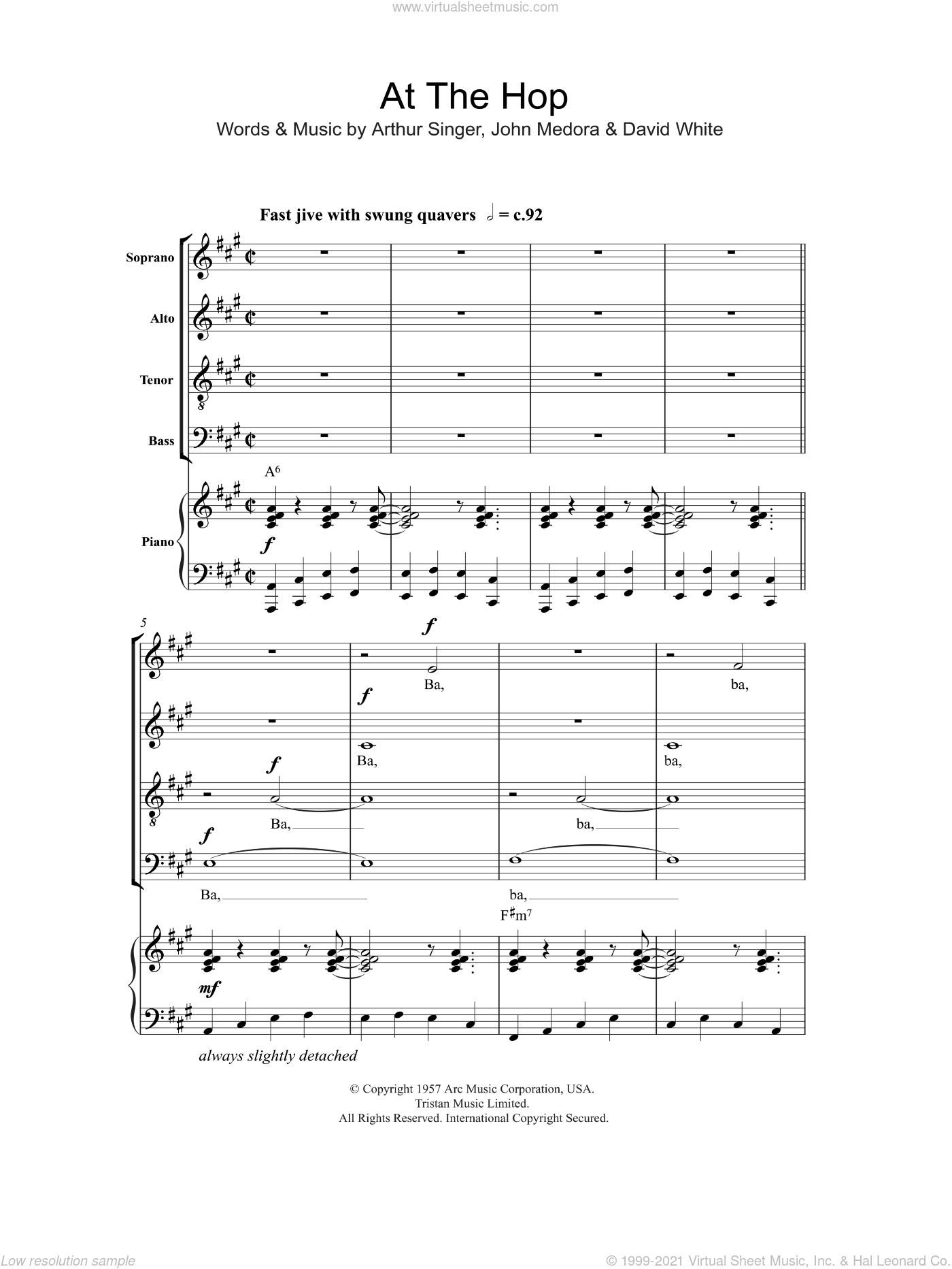 At The Hop sheet music for choir and piano (SATB) by John Medora. Score Image Preview.