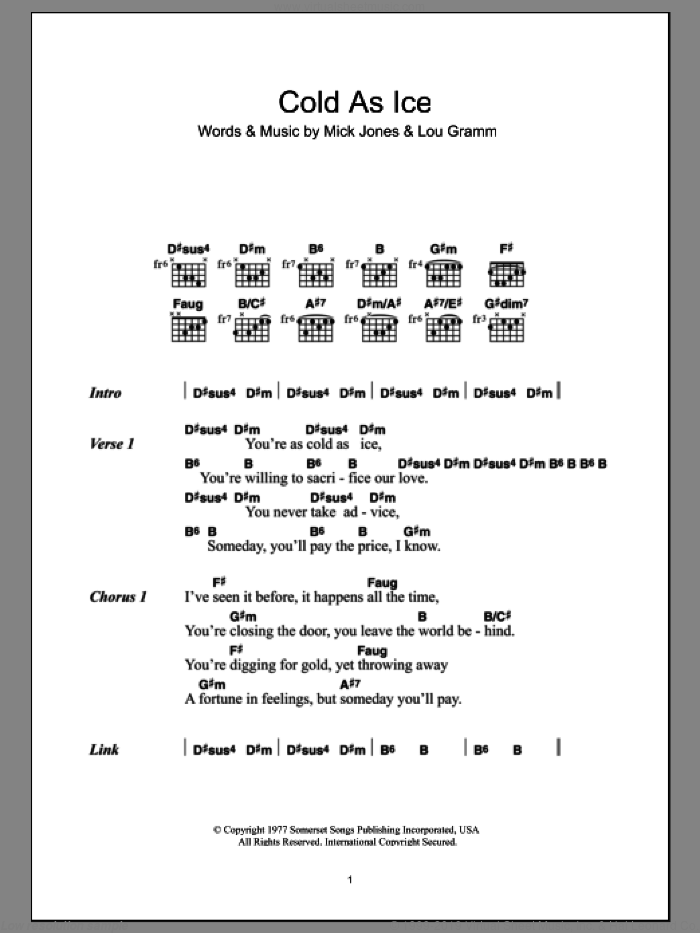 Cold As Ice sheet music for guitar (chords) by Mick Jones, Foreigner and Lou Gramm. Score Image Preview.