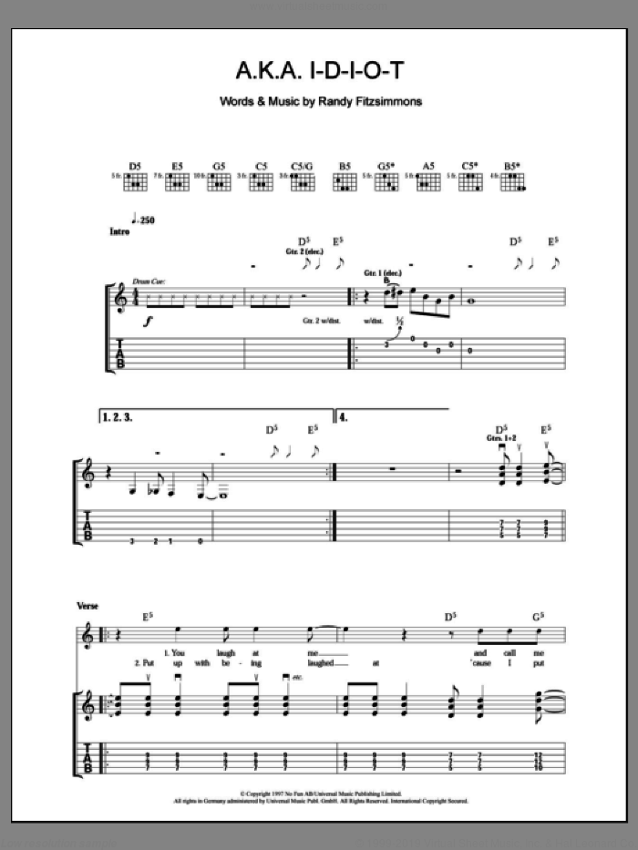 A.K.A. I-D-I-O-T sheet music for guitar (tablature) by The Hives