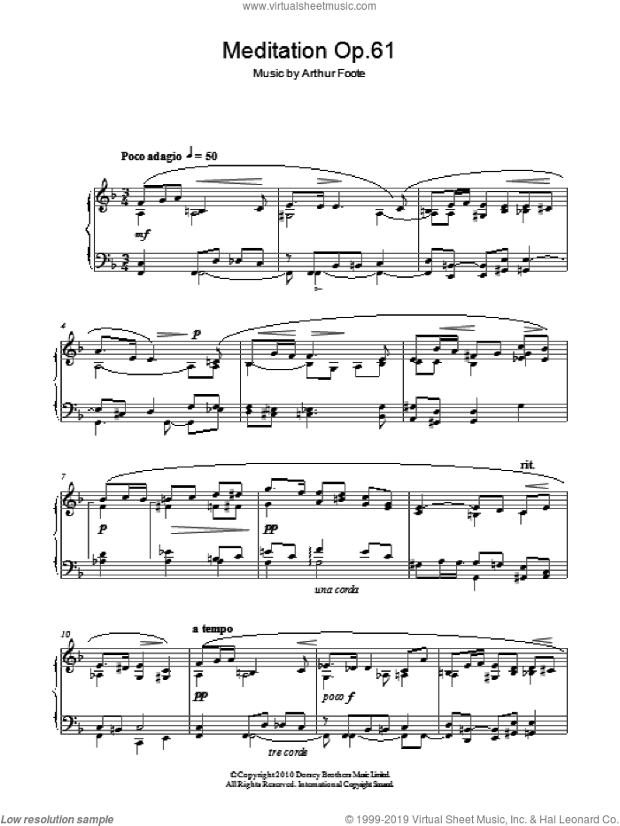 Meditation Op.61 sheet music for piano solo by Arthur Foote. Score Image Preview.