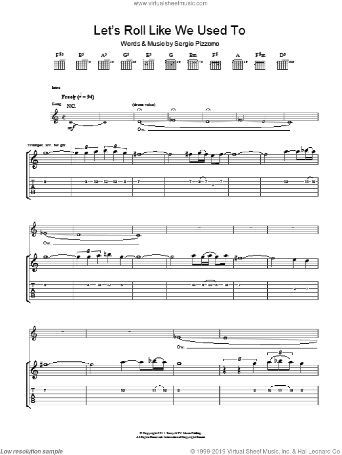 Let's Roll Just Like We Used To sheet music for guitar (tablature) by Sergio Pizzorno. Score Image Preview.