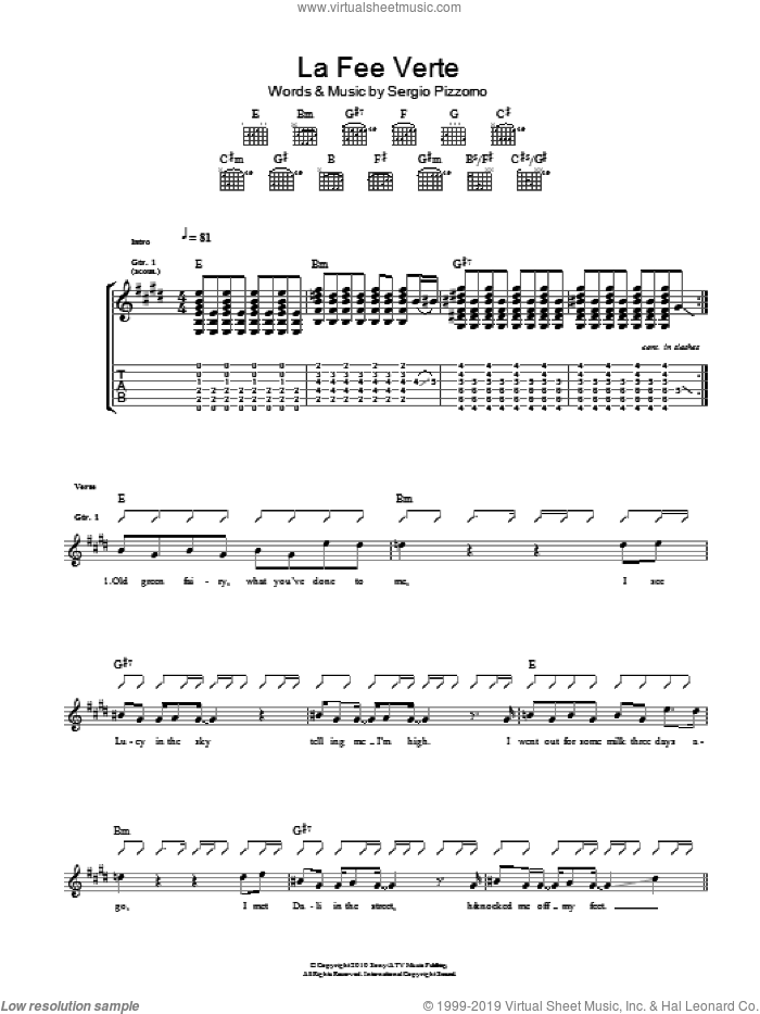 Le Fee Verte sheet music for guitar (tablature) by Kasabian. Score Image Preview.