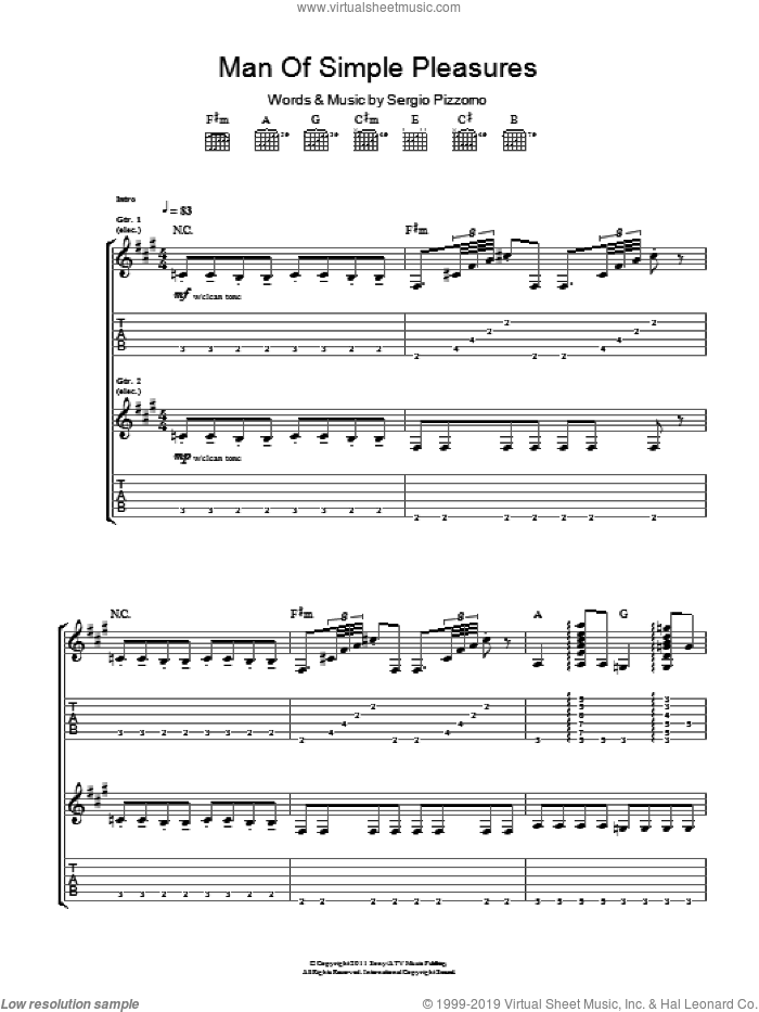 Man Of Simple Pleasures sheet music for guitar (tablature) by Kasabian. Score Image Preview.