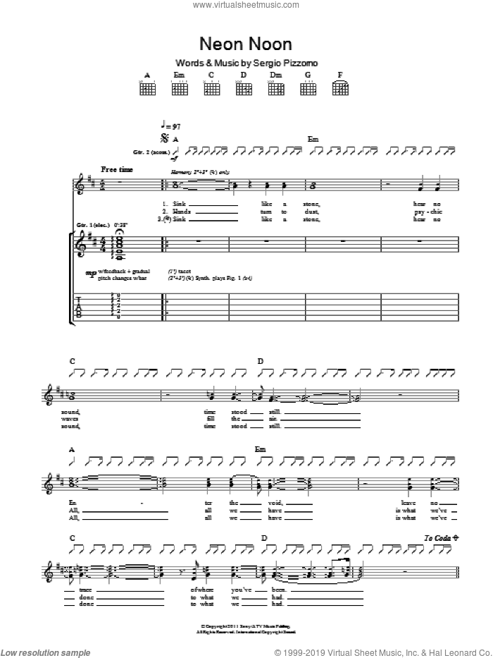 Neon Noon sheet music for guitar (tablature) by Sergio Pizzorno. Score Image Preview.