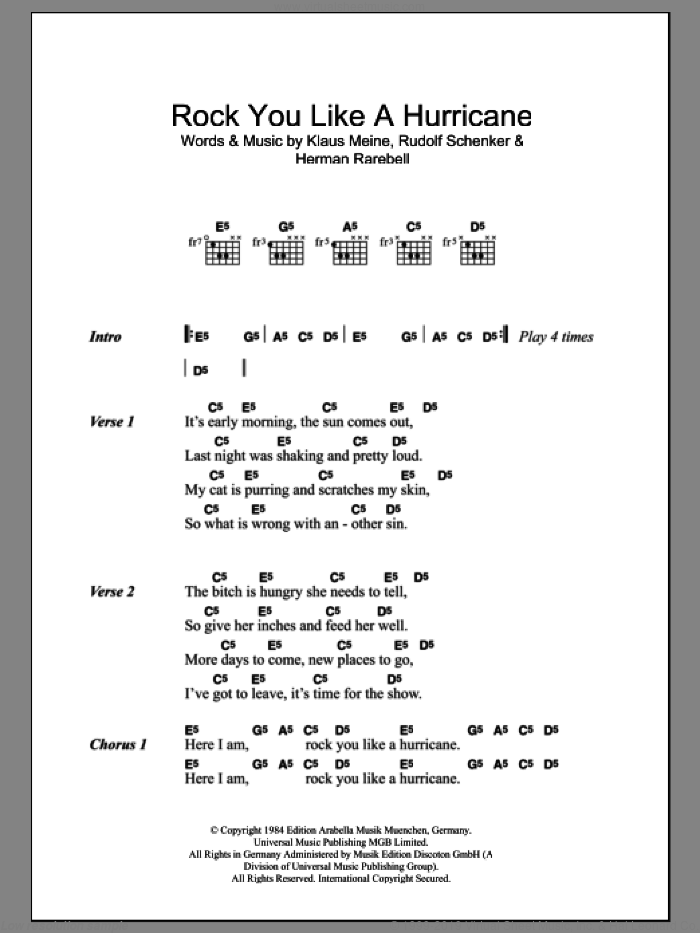 The Scorpions - Rock You Like A Hurricane sheet music for guitar ...