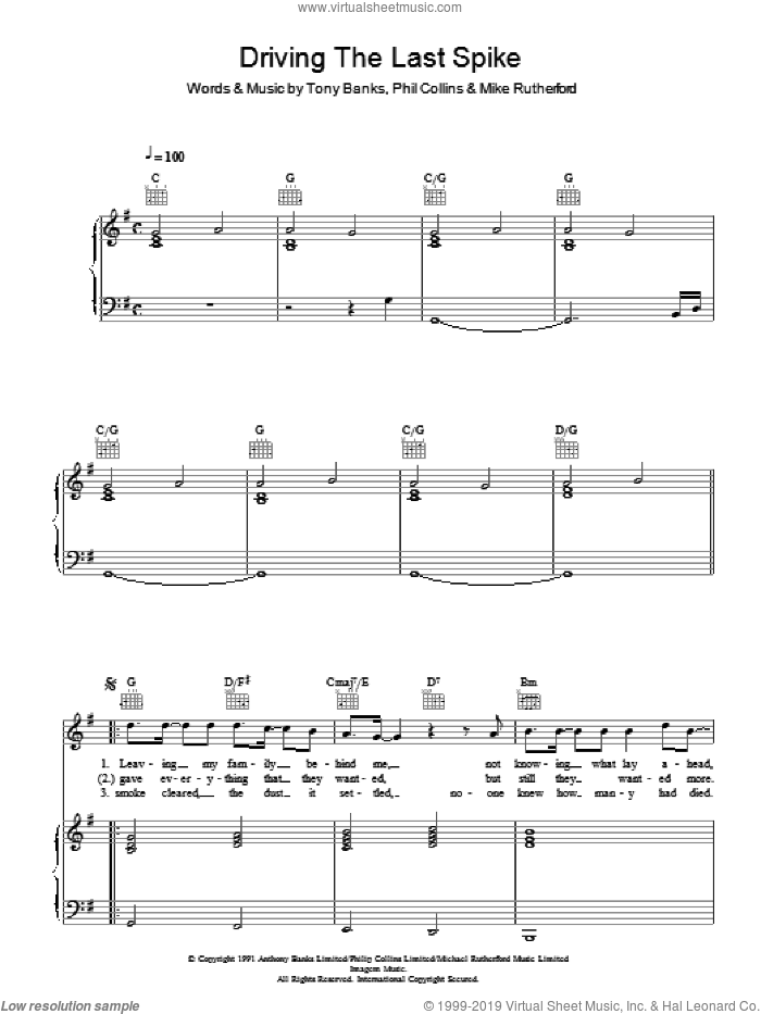 Driving The Last Spike sheet music for voice, piano or guitar by Genesis, Mike Rutherford, Phil Collins and Tony Banks, intermediate skill level