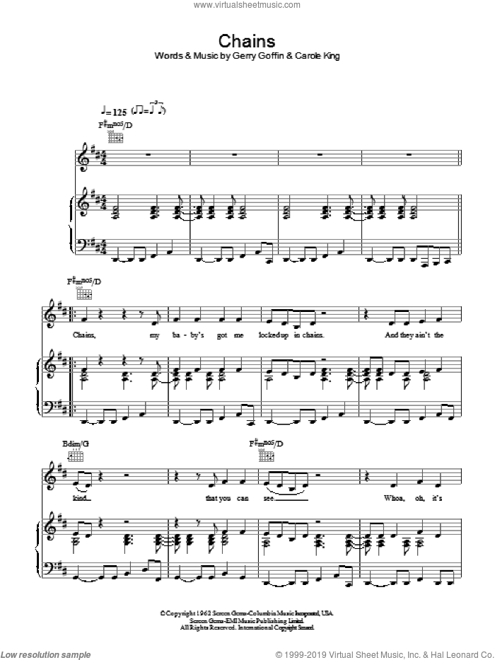 Chains sheet music for voice, piano or guitar by Gerry Goffin and Carole King. Score Image Preview.