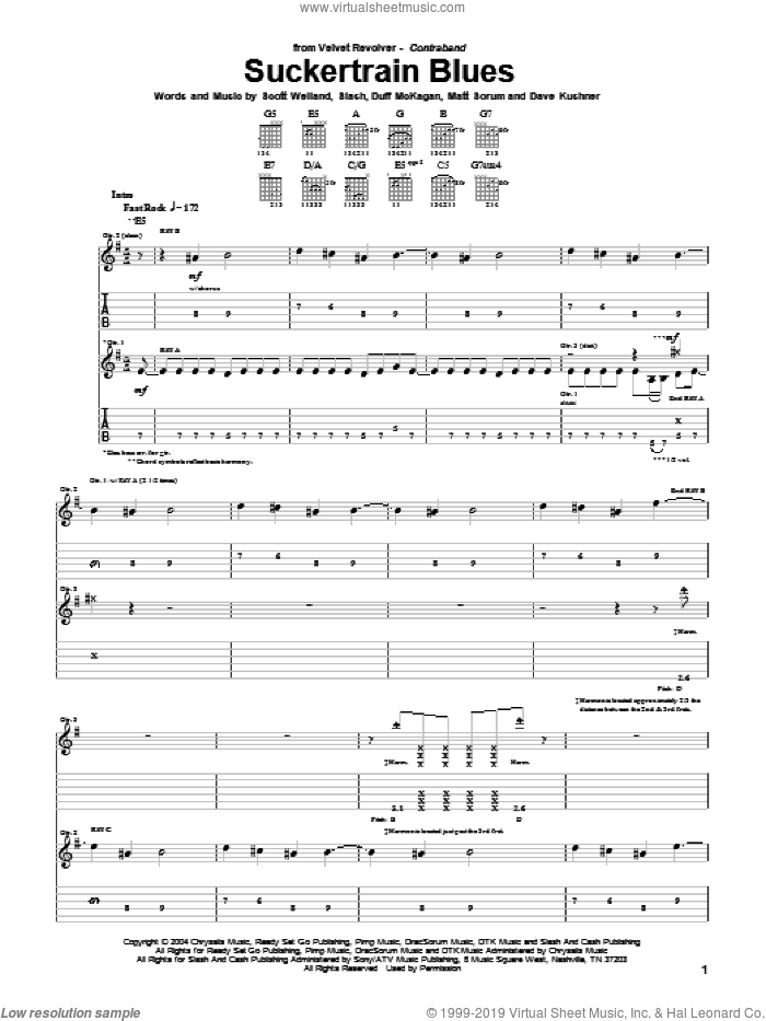 Suckertrain Blues sheet music for guitar (tablature) by Velvet Revolver and Slash, intermediate. Score Image Preview.