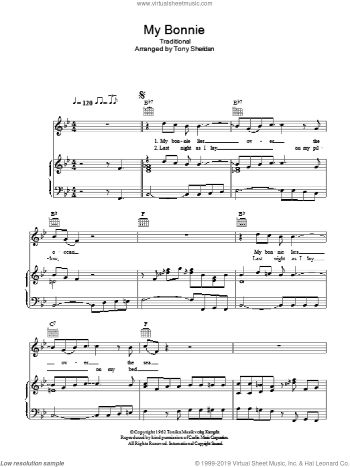 My Bonnie sheet music for voice, piano or guitar  and Ray Charles. Score Image Preview.