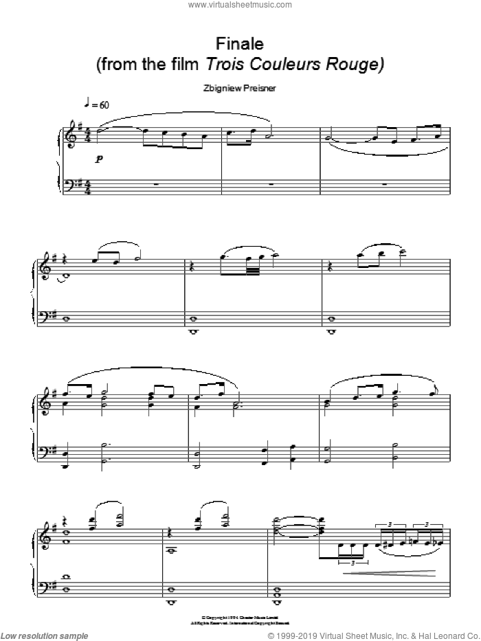 Finale (from Trois Couleurs Rouge) sheet music for piano solo by Zbigniew Preisner, intermediate skill level