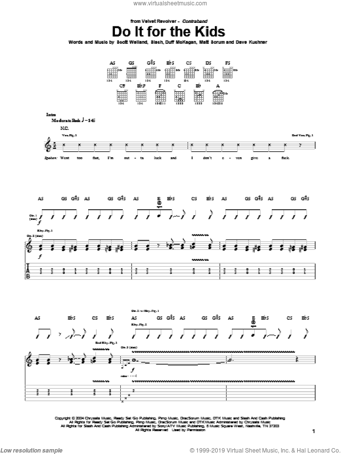 Do It For The Kids sheet music for guitar (tablature) by Slash, Duff McKagan and Scott Weiland. Score Image Preview.
