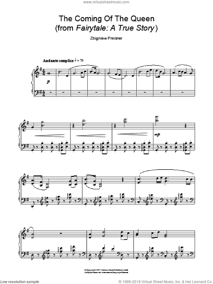 The Coming Of The Queen (from Fairytale: A True Story) sheet music for piano solo by Zbigniew Preisner. Score Image Preview.