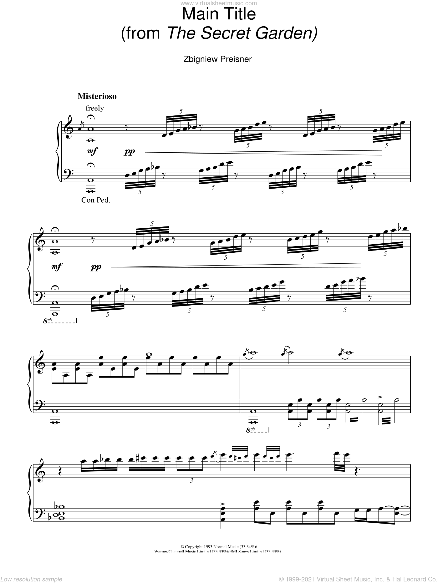 Preisner Main Title From The Secret Garden Sheet Music For Piano Solo
