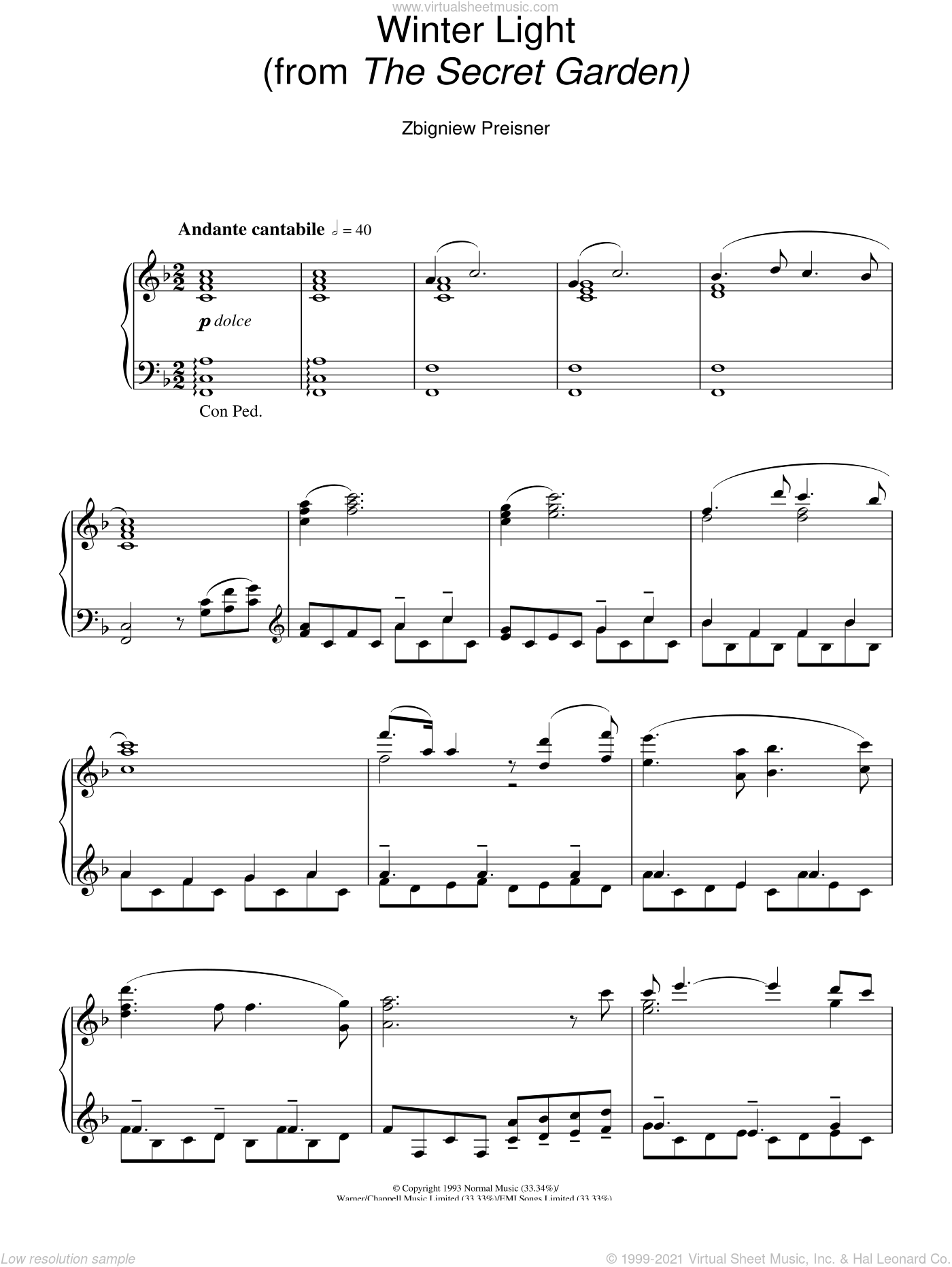 Winter Light (from The Secret Garden) sheet music for piano solo by Zbigniew Preisner, intermediate skill level