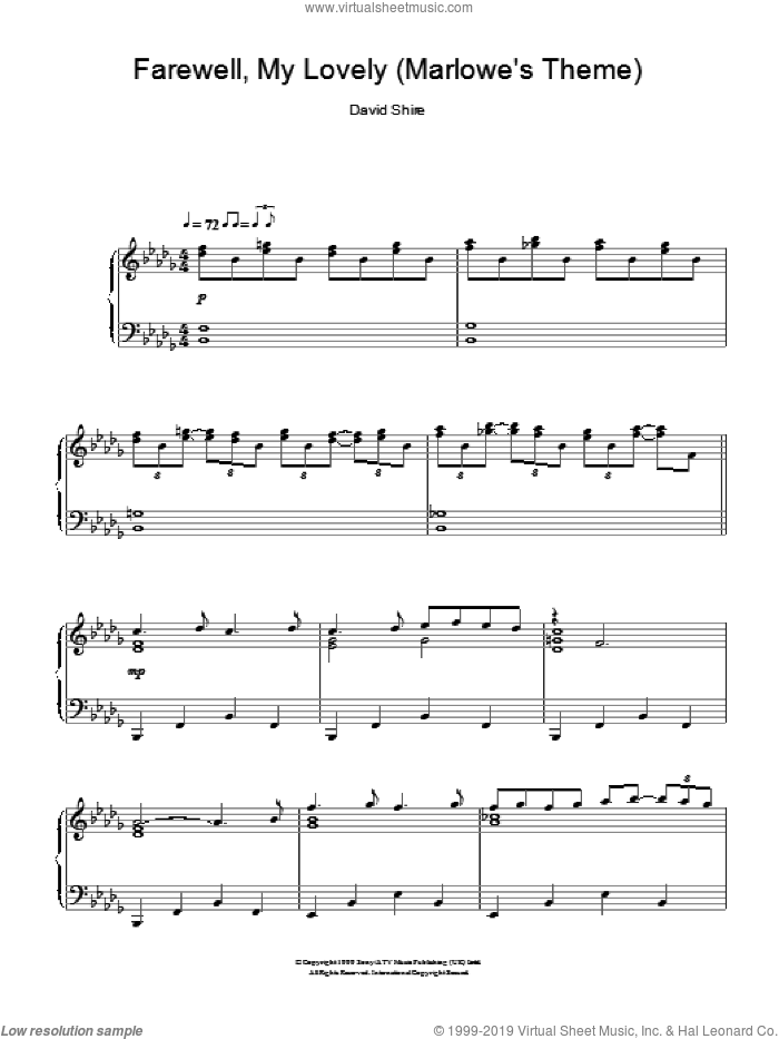 Farewell, My Lovely (Marlowe's Theme) sheet music for piano solo by David Shire, intermediate skill level