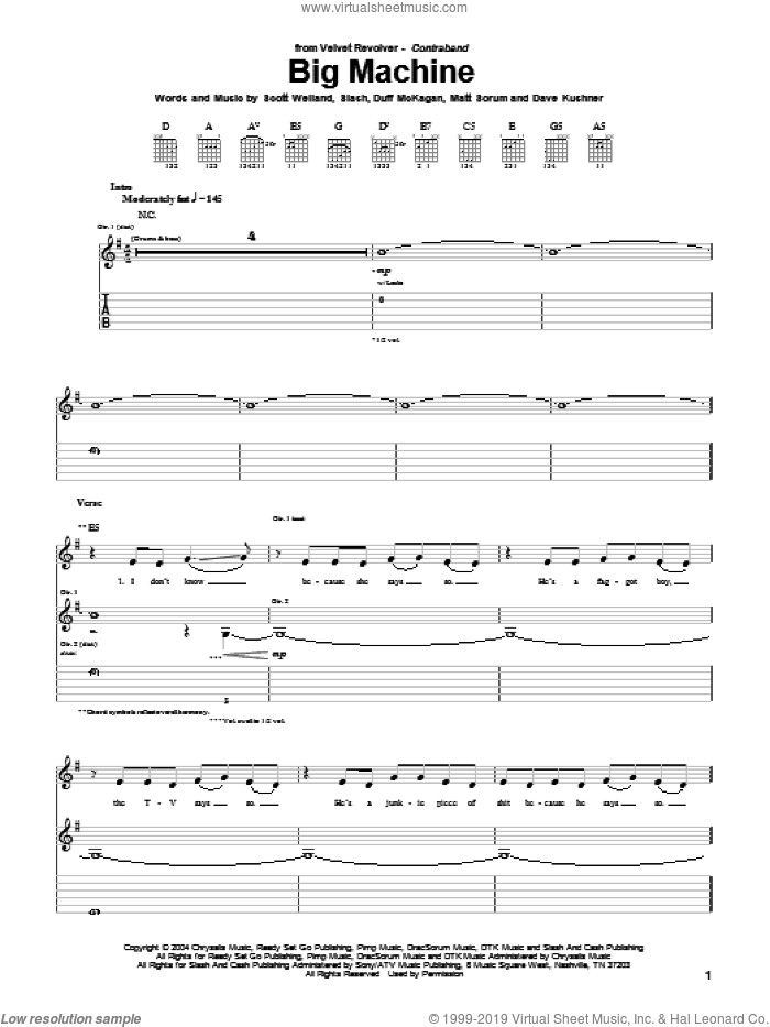 Big Machine sheet music for guitar (tablature) by Slash, Duff McKagan and Scott Weiland. Score Image Preview.