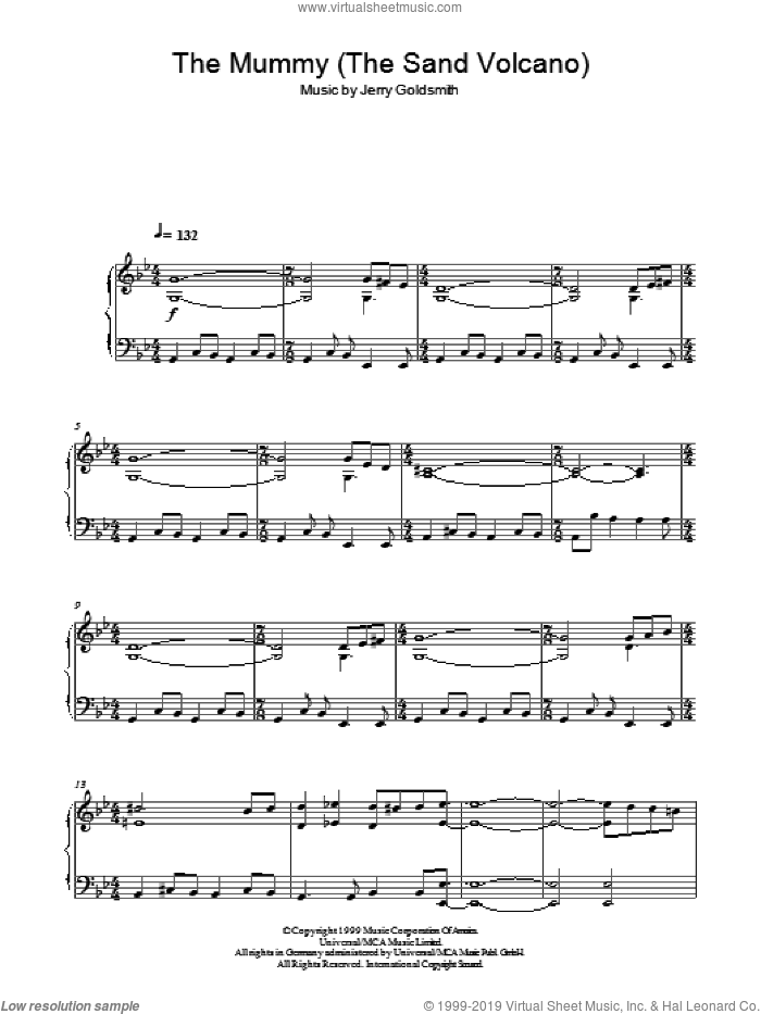 The Mummy (The Sand Volcano) sheet music for piano solo by Jerry Goldsmith. Score Image Preview.
