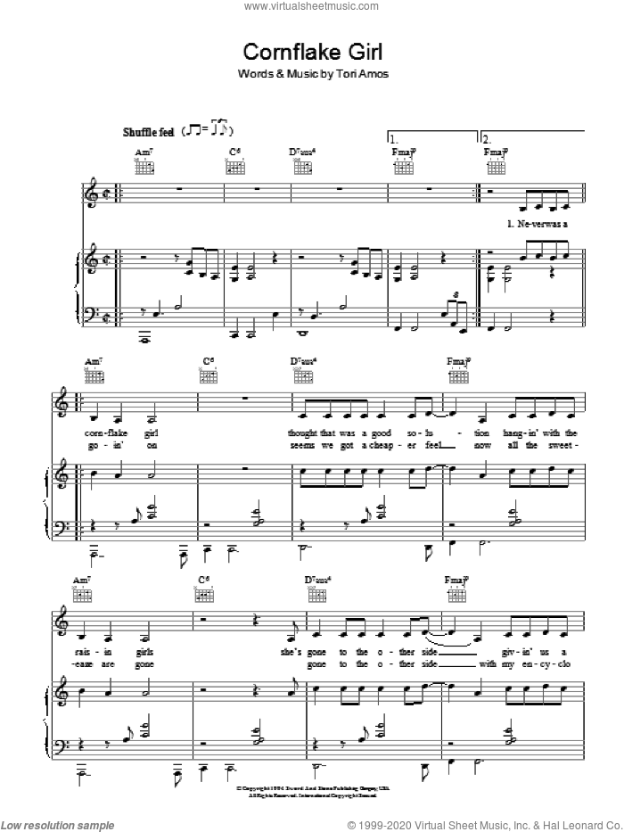 Cornflake Girl sheet music for voice, piano or guitar by Tori Amos. Score Image Preview.