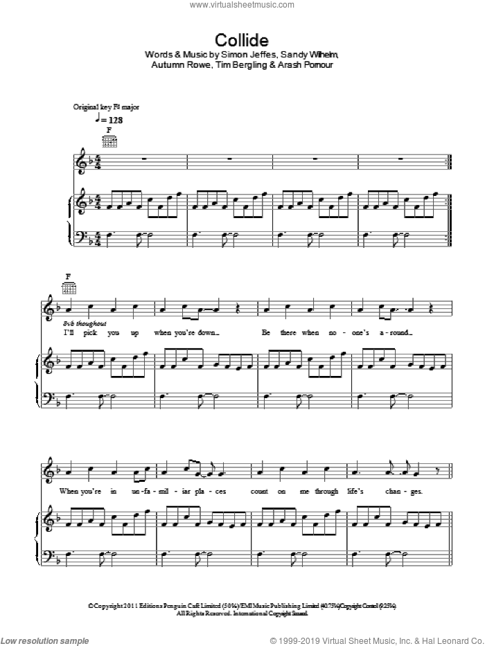 Collide sheet music for voice, piano or guitar by Leona Lewis, Arash Pornouri, Autumn Rowe, Sandy Wilhelm, Simon Jeffes and Tim Bergling, intermediate skill level